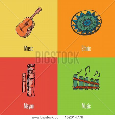 Mexico national symbols. Classic guitar, ethnic ornament, Mayan monument, folk flute colored hand drawn doodles vector icons. Mexican travel concept. Mexican art. Travel to Mexico concept. Discover Mexico. Flyer of Mexico for travel agency or travel ad.