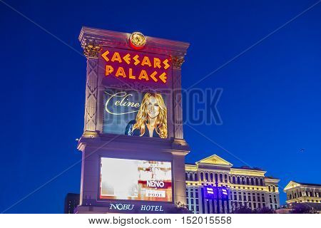 LAS VEGAS - OCT 05 : The Celine Dion show poster at Ceasars palace hotel on October 05 2016 in Las Vegas. Celine has a tree-year contract to play 70 shows annually at the Caesars Palace Colosseum