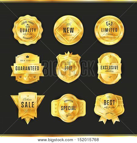 Gold metal badge collection vintage style isolated vector illustration. Quality guaranteed and exclusive badge. Exclusive sale golden badge. Golden badge set. Sale and quality badge. Golden icon of different badge.