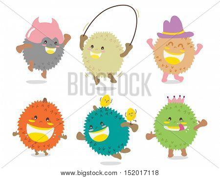 Set of Cute Durian Vector / Mascot Vector Design