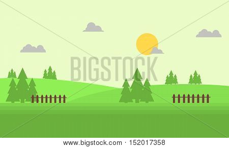 Vector flat of hill landscape illustration collection