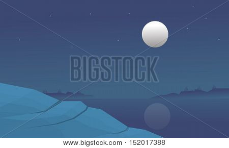 Silhouette of lake and hill at night vector art