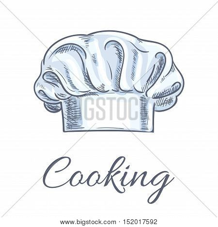 Chef hat or baker toque isolated sketch. White uniform headwear of restaurant kitchen personnel for cooking book, recipe and menu decoration design