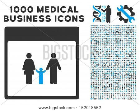 Blue And Gray Family Calendar Page vector icon with 1000 medical business pictograms. Set style is flat bicolor symbols, blue and gray colors, white background.