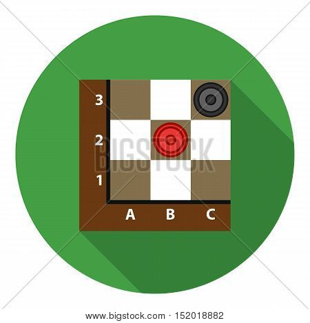 Checkers icon in flat style isolated on white background. Board games symbol vector illustration.