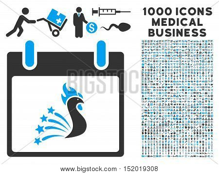 Blue And Gray Festive Rooster Calendar Day vector icon with 1000 medical business pictograms. Set style is flat bicolor symbols, blue and gray colors, white background.