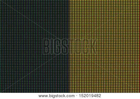 Closeup RGB led diode of led TV or led monitor screen display panel. Colorful led screen background for design with copy space for text or image.