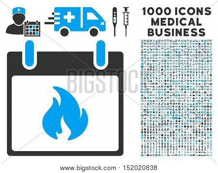Blue And Gray Flame Calendar Day vector icon with 1000 medical business pictograms. Set style is flat bicolor symbols, blue and gray colors, white background.
