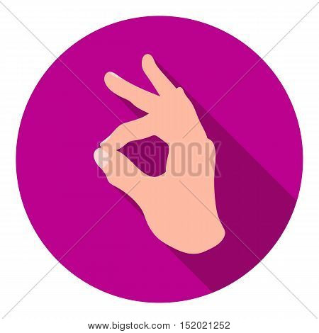 Okay sign icon in flat style isolated on white background. Hand gestures symbol vector illustration.