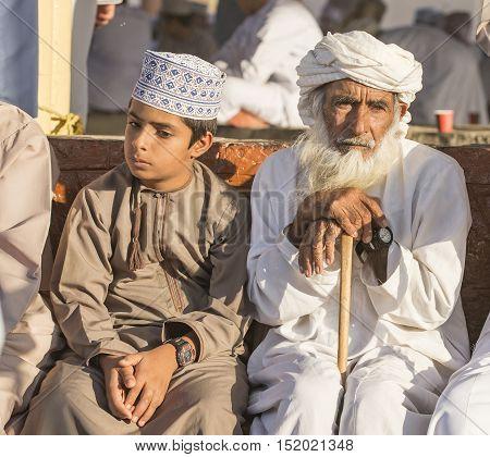 Nizwa Oman October 13th 2016: Men at Nizwa goar aucion