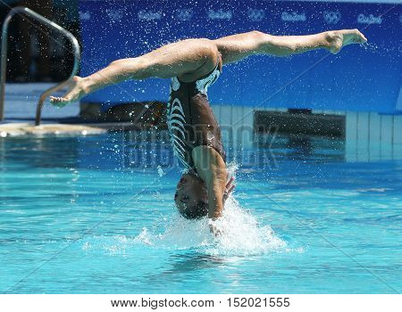 RIO DE JANEIRO, BRAZIL - AUGUST 14, 2016: Team Greece in action during synchronized swimming duets free routine preliminary competition of the Rio 2016 Olympic Games at the Maria Lenk Aquatics Centre