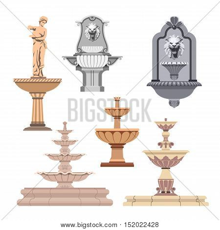 Vector set of different fountains. Design elements and icons.
