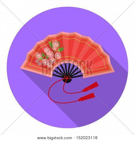 Folding fan icon in flat style isolated on white background. Japan symbol vector illustration.