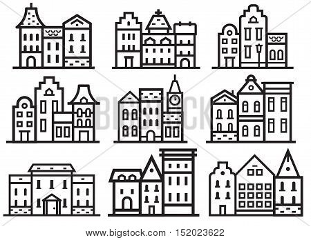 Europe street and house thin line collection. Scandinavian and british townhouse facades. Historic town houses set. Danish, english or german downtown street logos and emblems in outline design.