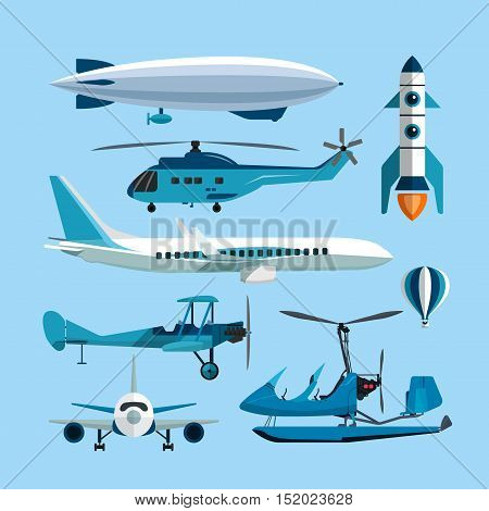 Vector set of flying transportation objects. Hot air balloon, rocket, helicopter, airplane and retro biplane. Design elements and isolated transport icons in flat style.