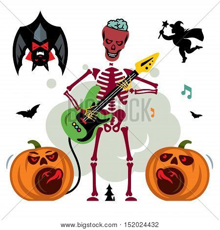 Party, dead music, pumpkin, bat and witch. Isolated on a white Background
