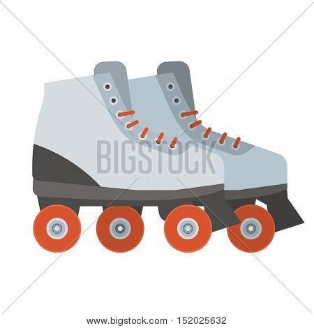 White woman roller blades. Girl roller skates with red wheels illustration. City sports equipment.