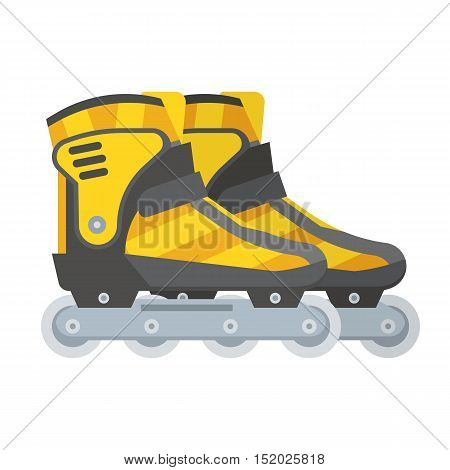 Yellow modern roller blades. Sport roller skates. City sports equipment.