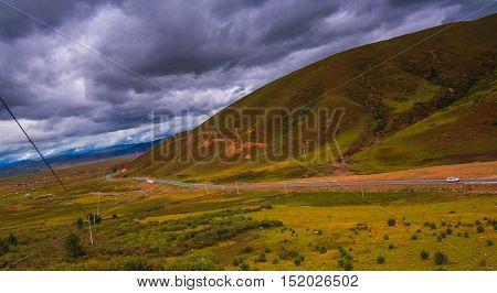 The highland road to Daocheng City, China
