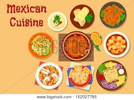 Mexican cuisine chicken burrito and duck tortilla rolls icon with vegetable beef stew estofado, chicken soup with tortillas, spicy chicken wings, fish soup, fried cod and chicken in chocolate sauce