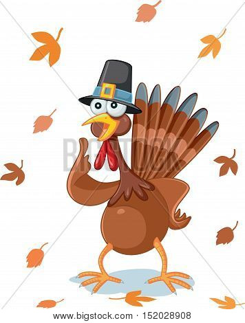 Thanksgiving Turkey with Pilgrim Hat Funny Vector Cartoon