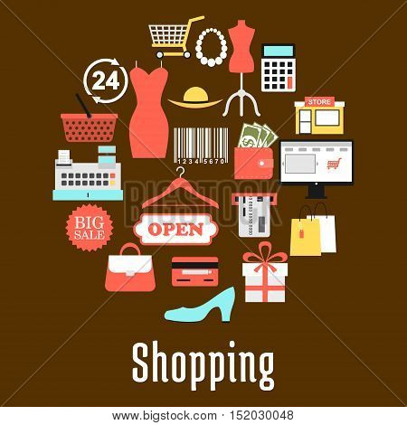Shopping and retail commerce round badge made up of sale tag, shopping basket and cart, gift box, paper bag, money, credit bank card, wallet, calculator, store, e-commerce, barcode, clothing