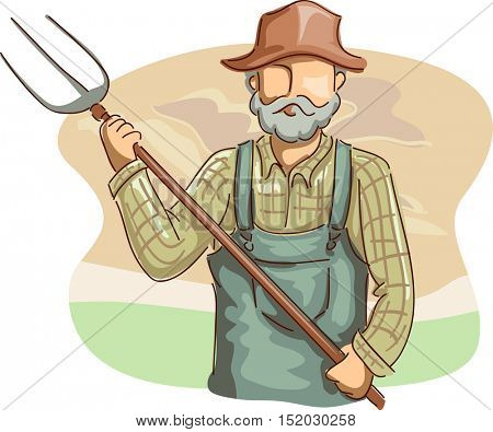 Illustration of a Farmer in a Plaid Shirt, Overalls, and a Straw Hat Holding a Pitchfork
