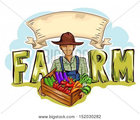 Typography Illustration of a Farmer Holding a Crate of Fresh Produce Placed at the Center of the Word Farm