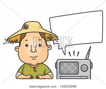 Illustration of a Farmer in a Straw Hat Sitting Next to a Portable Radio While Listening to the News