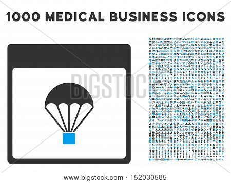 Blue And Gray Parachute Calendar Page vector icon with 1000 medical business pictograms. Set style is flat bicolor symbols, blue and gray colors, white background.