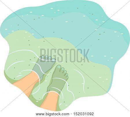 Cropped Illustration of a Pair of Feet Submerged in Shallow Waters with the Bottom Visible from Above