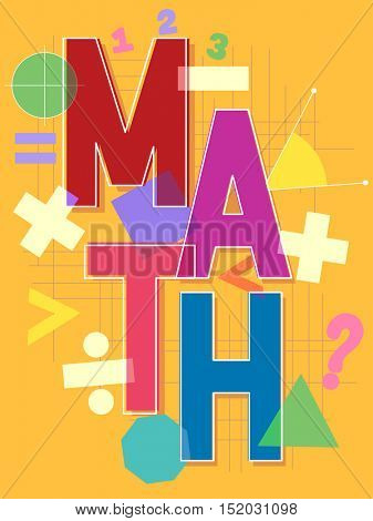 Typographical Illustration Featuring the Word Math Surrounded by Different Mathematical Symbols