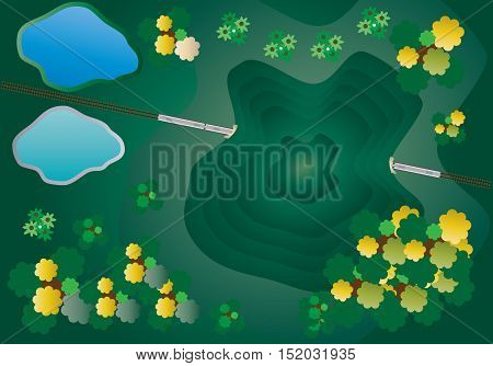 Top View of Diesel Railcar train and tunnel under mountain Vector Illustration