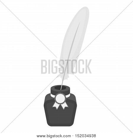 Quill in inkwell icon in monochrome style isolated on white background. Patriot day symbol stock vector illustration.