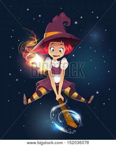 illustration of scared witch flying on broom. little young girl character. night dark background. magic sparcle. happy halloween