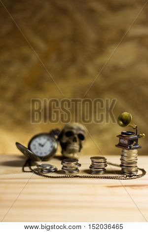 Staircase Of Money, Thai Coins Of One Bath On Wood And Element Antique Clock,skull ,vintage Gramopho