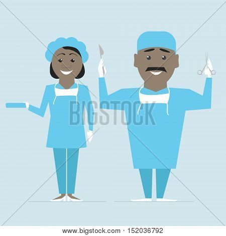 Surgeon and nurse in uniform ready for operation. Vector