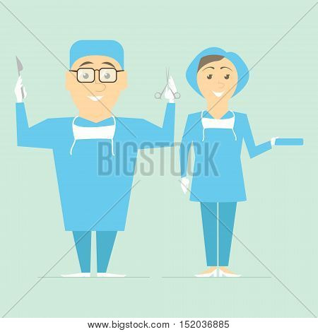 Couple of doctors. Physicians surgeons ready for operation. Vector
