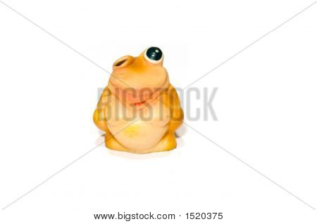 object on white: Toy -frog isolated poster