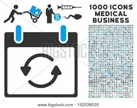 Blue And Gray Refresh Calendar Day vector icon with 1000 medical business pictograms. Set style is flat bicolor symbols, blue and gray colors, white background.