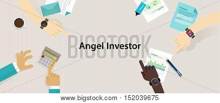 angel investor money fund management startup vector