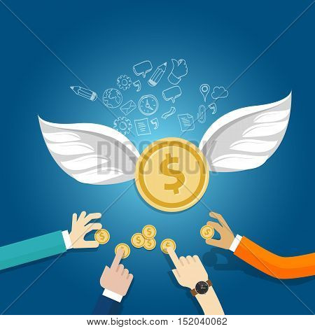 angel investor money fund management startup coin wings fly vector poster