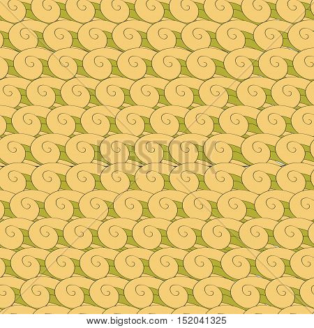 vector seamless pattern vortex whorl endless green yellow eps8