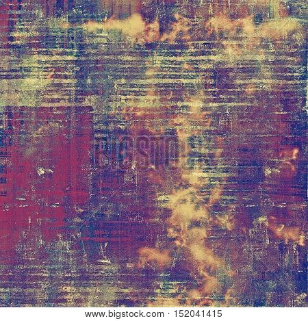 Vintage elegant background, creased grunge backdrop with aged texture and different color patterns: yellow (beige); brown; blue; red (orange); purple (violet); pink