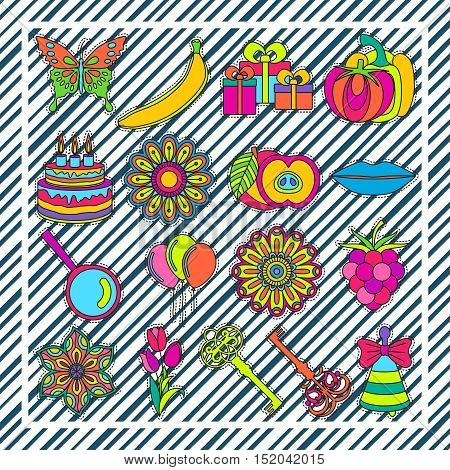 Set of fashionable cute patches elements on striped background. Vector illustration