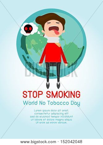 World No Tobacco Day, Infographic Vector Concept Stop Smoking on Background, Cigarette kills man, No smoking, cartoon vector illustration,
