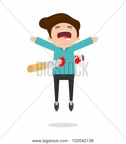 Cigarette kills man on white Background, cartoon vector illustration, World No Tobacco Day, No smoking, Concept Stop Smoking
