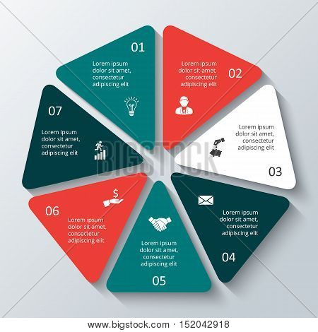 Vector heptagon infographic. Template for cycle diagram, graph, presentation and round chart. Business concept with options, parts, steps or processes. Data visualization.