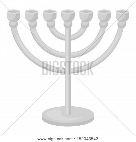 Menorah icon in monochrome style isolated on white background. Religion symbol vector illustration.