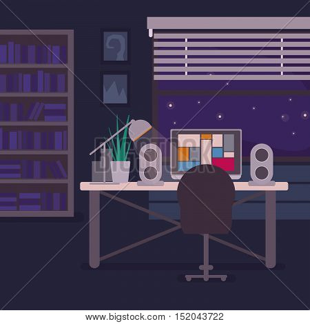Living room with computer, jalousie and bookshelf. Home workplace of a freelancer. Room background vector illustration.